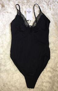 BNWT Zara Trafaluc Black Bodysuit Stretch Fabric Lace Trim Size M