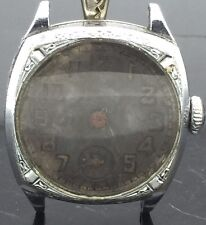 VINTAGE 1930 ELGIN ART DECO CUSHION CASE 7 GRADE 485 WRISTWATCH FOR PARTS REPAIR