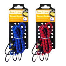 4x Heavy Duty Bungee Cords - Elasticated Stretch Car Bike Luggage Strap w/ Hooks