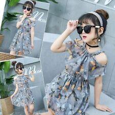 New Summer Kid Girls Princess butterfly Dress Flower Chiffon Beach Dress Clothes