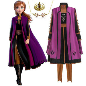 2019 New Release Girls Frozen 2 Anna Costume Party Birthday 3pcs Set Dress 3-10Y