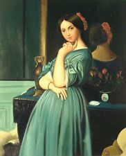 """24""""x 20"""" Oil Painting on Canvas, Young Lady in a Blue Dress"""