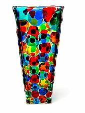 SIGNED - GIANT! 30cm X RARE Murano Art Glass Pezzato Squares Vase & Certificate