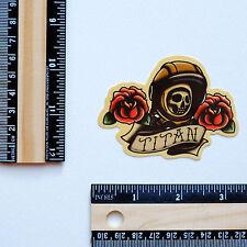 "#2851 TITAN Old School Vintage Tattoo Style Drawing Art 3X2"" Decal sticker"
