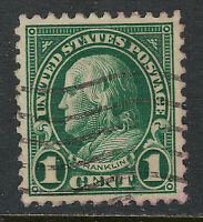 SCOTT 552 1923 1 CENT FRANKLIN REGULAR ISSUE USED XF CAT $20!