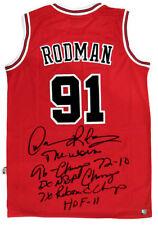 Dennis Rodman Autographed Chicago Bulls NBA Basketball Red Stat Jersey ASI Proof