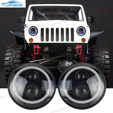 "For 1997-06 Jeep Wrangler TJ 7"" Round LED Headlights Halo Angel Eyes Upgrade Kit"