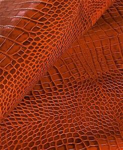 Rust Orange Crocodile Leather Cow Hide Cowhide Accessory Bag Craft Avg 14 SqFt
