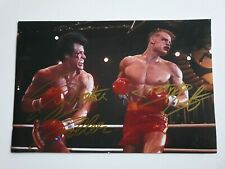 SYLVESTER STALLONE DOLPH LUNDGREN ROCKY 4 SIGNED 12 X 8 INCH PRINT W/ COA PROOF