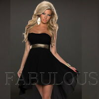 New Sexy High Low Mini Dress Strapless Party Formal Cocktail Size 6 8 10  XS S M