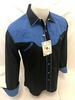 Men RODEO WESTERN COUNTRY BLACK Long Sleeve Woven SNAP UP Shirt Cowboy 06675 NWT