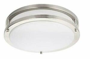 """Energetic Lighting, 14"""" Dimmable LED Flush Mount Ceiling Light Brushed Nickel"""