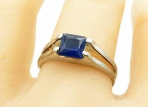 925 Sterling Silver - Vintage Square Cut Blue Topaz Solitaire Ring Sz 9 - R11418