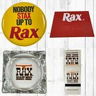 Lot of Rax Roast Beef Yellow Button + Nametag + Glass Ashtray + Matchbook Cover