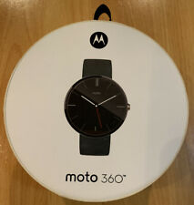 BRAND NEW Motorola Moto 360 Android Smart Watch - Black Leather - 00418NARTL