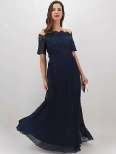 Oasis Holly Lace Top Bardot Pleated Navy Maxi Plus Size 22