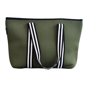OLIVIA JEAN Womens Khaki Neoprene Handbag Tote Gym Bag- With Zip Closure