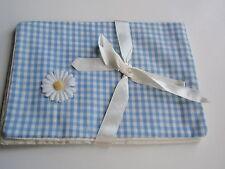 Vintage Blue White Check Fabric Ladies Lingerie Travel Storage Bag Daisy Flower