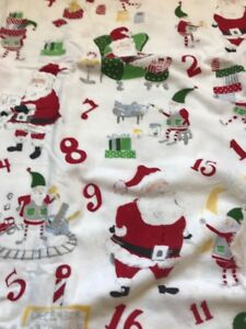 Pottery Barn Kids Christmasn Santa Flat Full Queen Sheet New with defect