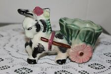 Vintage.Hand Painted.Green Donkey, Pulling A Cart.Planter.Japan