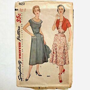 Vintage 1950s SIMPLICITY Sewing Pattern Dress Full Skirt Jacket + TRANSFER sz 16