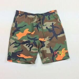 Polo Ralph Lauren Men Rainbow 1992 Logo Military Army Camo Fleece Shorts 4XB