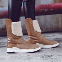 Women Round Toe Winter Snow Pull On Calf Boots Warm Fluff Lining Casual Shoes Sz