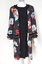 Etro Adorno Floral Negro con bucles Abrigo 48 Reino Unido 14 - 16