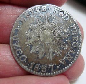(1837) 2 REALES( CUZCO ) SOUTH PERU (SILVER) ---VERY RARE-----