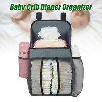 Baby Cot Bed Hanging Nappy Bottle Organizer Storage Bag Cradle Crib Diaper Ba