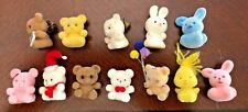New ListingVintage 1980's Lot of 12 Mini Miniature Fuzzy Animal (Bears/Bunny) Figurines