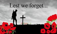 5' x 3' Lest We Forget Flag WW1 WW2 Poppy British Army Royal Navy RAF Banner