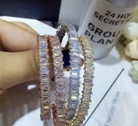 18K Rose Gold Open Bangle Bracelet made w/ Swarovski Crystal Baguette Stone