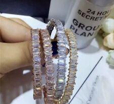 18K Rose Gold Open Bangle Bracelet made w/ Swarovski Crystal Baguette Stone