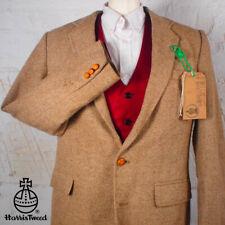38R HARRIS TWEED Blazer Jacket - Brown Herringbone Hacking Hunting Wedding #300