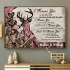 Personalized Deer Pink Camo I Choose You Poster & Canvas Wall Art Decor