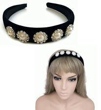 Magnifique velours noir serre-tête cheveux bande alice band crystal perles nacre rembourré