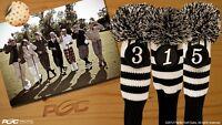 NEW 1 3 5 Vintage Pom Pom Head Covers Sock Black Golf Club Retro Headcovers