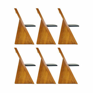 A set of six contemporary Church pew style solid oak dining chairs