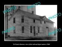 OLD LARGE HISTORIC PHOTO OF ST FRANCIS KANSAS, THE RAILROAD DEPOT STATION c1960