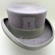 VINTAGE Wool Felt Men Top Hat Victorian Coachman Topper Tuxedo | 59cm | Grey