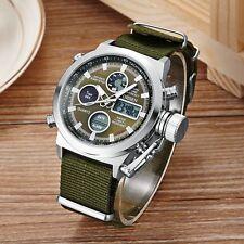 Men's Sports Military Army Green Analog Digital Quartz Nylon Canvas Wrist Watch