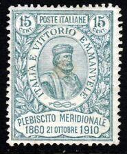 ITALIA 1910 Plebiscito di Stati del Sud 15 C. +5 C. Menta Verde SG 84