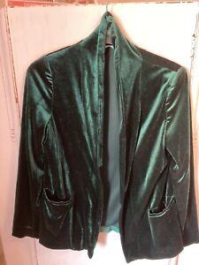 Peacocks Green Velvet Size 12 Jacket