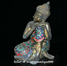 "10.8"" Old Tibet Bronze Turquoise Sleep Lying Sakyamuni Shakyamuni Buddha Statue"
