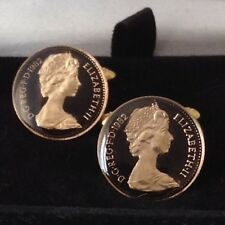 Cufflinks. Black/gold. 37th Birthday/Anniversary 1982 Enamelled 1/2p Coin
