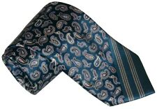 $285 NEW BRIONI TEAL w SKY BLUE WHITE BLACK & GOLD TONE PAISLEY SMOOTH SILK TIE