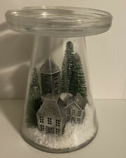 Bath & Body Works WINTER NORDIC VILLAGE GLASS PEDESTAL 3 WICK CANDLE HOLDER