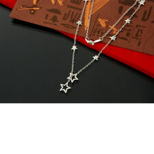 "925 Silver Plated Hollow Cut Out Star Necklace Lariat Style 18"" Beautiful Gift"
