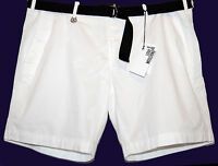Love Moschino White AUTHENTIC Cotton Shorts Black Belt Logo Size US 40 EU 56 NEW